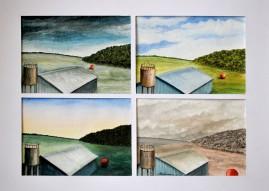 Rött klot i fyra faser  Akvarell